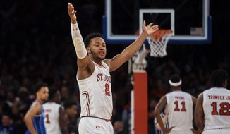 St. John's Shamorie Ponds (2) celebrates during the second half of an NCAA college basketball game against Duke at Madison Square Garden in New York, Saturday, Feb. 3, 2018. St. John's defeated No. 4 Duke 81-77. (AP Photo/Andres Kudacki)