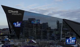 U.S. Bank Stadium is seen Wednesday, Jan. 31, 2018, in Minneapolis. The NFL Super Bowl 52 football game will be played Sunday, Feb. 4, 2018. (AP Photo/Matt Slocum)
