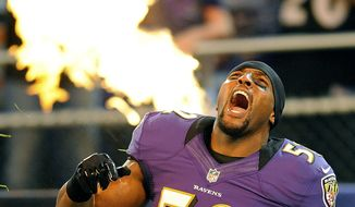 FILE - In this Aug. 17, 2012, file photo, Baltimore Ravens linebacker Ray Lewis reacts as he is introduced before an NFL preseason football game against the Detroit Lions in Baltimore. Lewis was elected to the Pro Football Hall of Fame on Saturday, Feb. 3, 2018. (AP Photo/Nick Wass, File)