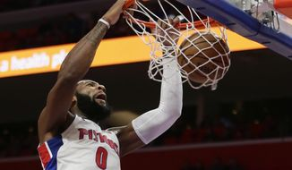 Detroit Pistons center Andre Drummond (0) dunks the ball against the Miami Heat during the first half of an NBA basketball game Saturday, Feb. 3, 2018, in Detroit. (AP Photo/Duane Burleson)