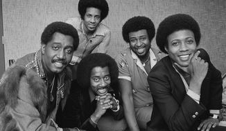 FILE- In an undated file photo, The Temptations singing group is pictured. From left are; Otis Williams, Melvin Franklin and Glenn Beonard. Back row from left, Richard Street and Dennis Edwards. Edwards, a former member of the famed Motown group has died. He was 74. Rosiland Triche Roberts, his longtime booking agent, says Edwards died Thursday, Feb. 1, 2018 in Chicago after a long illness.(AP Photo/Lennox McLendon_File)