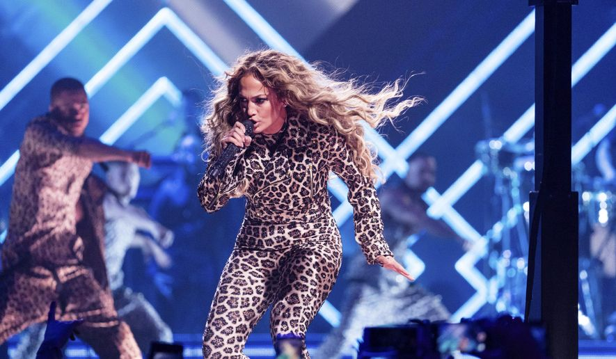 Jennifer Lopez performs at the Directv Super Saturday Night at The Armory on Saturday, Feb. 3, 2018, in Minneapolis. (Photo by Michael Zorn/Invision/AP)