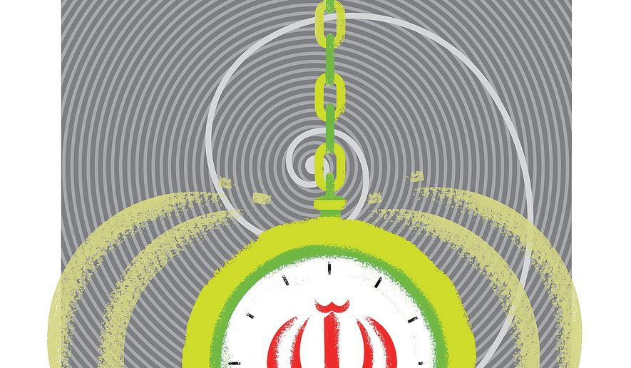 Illustration on the mesmerizing power of Iran over Europe by Linas Garsys/The Washington Times