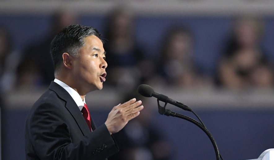 Rep. Ted Lieu, D-Calif., speaks during the final day of the Democratic National Convention in Philadelphia, Thursday, July 28, 2016. (AP Photo/Mark J. Terrill) ** FILE **