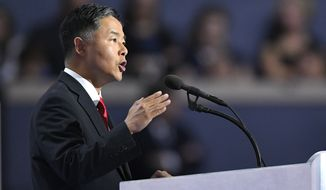 Rep. Ted Lieu, D-Calif., speaks during the final day of the Democratic National Convention in Philadelphia , Thursday, July 28, 2016. (AP Photo/Mark J. Terrill)