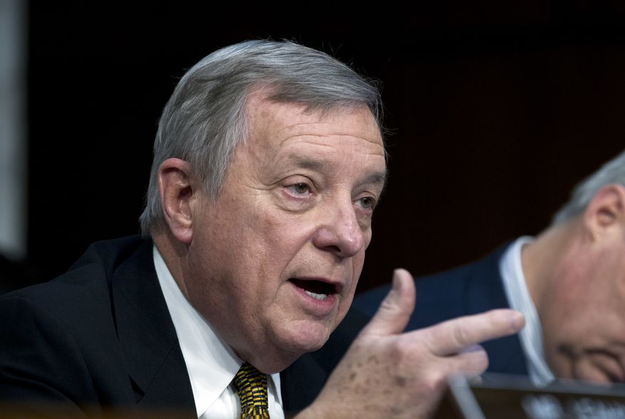 Sen. Dick Durbin D-Ill. questions Homeland Security Secretary Kirstjen Nielsen as she testifies before the Senate Judiciary Committee in Capitol Hill on Tuesday, Jan. 16, 2018, in Washington. ( AP Photo/Jose Luis Magana) ** FILE **