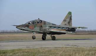 russian su25 ground attack jet lands after return from