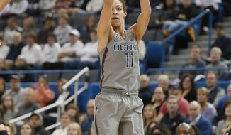 Connecticut's Kia Nurse shoots from the three-point range during the first half of an NCAA college basketball game against Cincinnati, Sunday, Feb. 4, 2018, in Hartford, Conn. (AP Photo/Jessica Hill)