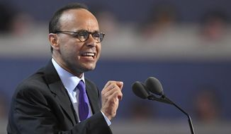 FILE - In this July 25, 2016 file photo, Rep. Luis Gutierrez, D-Ill. speaks at the Democratic National Convention in Philadelphia. The surprise news that Gutierrez, a longtime immigrant rights advocate won't seek re-election after 25 years in office has triggered a burst of activity in his Chicago area district, with primary candidates vowing to continue his work. (AP Photo/Mark J. Terrill file)