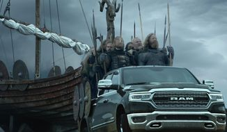 This photo provided by Ram Truck Brand shows a scene from the company's Super Bowl spot. For the 2018 Super Bowl, marketers are paying more than $5 million per 30-second spot to capture the attention of more than 110 million viewers. (Ram Truck Brand via AP)