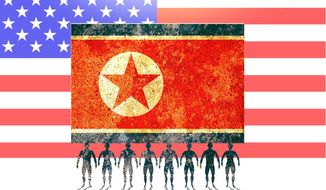 Illustration on highlighting the plight of North Korea's people by Alexander Hunter/The Washington Times