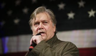 Former White House chief strategist Steve Bannon speaks at a rally for U.S. Senate hopeful Roy Moore, Monday, Sept. 25, 2017, in Fairhope, Ala. (AP Photo/Brynn Anderson) ** FILE **