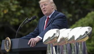 FILE - In this April 19, 2017, file photo, President Donald Trump speaks on the South Lawn of the White House in Washington during a ceremony where he honored the Super Bowl Champion New England Patriots for their Super Bowl LI victory. Trump is renewing his complaints about NFL players who kneel during the national anthem. Players have been kneeling to protest racism and police brutality, particularly toward people of color. Trump says the act is disrespectful and is hurting the game. (AP Photo/Susan Walsh, File)