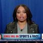 "ESPN sportswriter Jemele Hill claimed Sunday morning that President Trump often uses ""racial pornography"" to fire up his base. (MSNBC)"