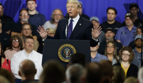 President Donald Trump delivers remarks at Sheffer Corporation to promote his tax policy, Monday, Feb. 5, 2018, in Blue Ash, Ohio. (AP Photo/Evan Vucci)
