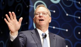 This march 8, 2016, file photo shows Eric Schmidt, executive chairman of Alphabet speaking during a press conference ahead of the Google DeepMind Challenge Match in Seoul, South Korea. (AP Photo/Lee Jin-man, File)