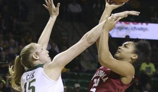 Baylor forward Lauren Cox, left, fouls Oklahoma guard Ana Llanusa, right, during the first half of an NCAA college basketball game, Monday, Feb. 5, 2018, in Waco, Texas. (AP Photo/Jerry Larson)