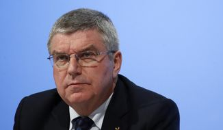International Olympic Committee President Thomas Bach leads the 132nd IOC Session prior to the 2018 Winter Olympics in Pyeongchang, South Korea, Tuesday, Feb. 6, 2018. (AP Photo/Patrick Semansky)