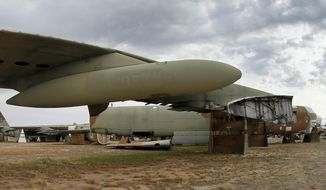 In this Thursday, May 21, 2015 file photo, the 39th and final B-52G Stratofortress, tail number 58-0224, accountable under the New START Treaty (Strategic Arms Reduction Treaty) with Russia, is shown at the 309th Aerospace Maintenance and Regeneration Group boneyard at Davis-Monthan Air Force Base in Tucson, Ariz. Russia says it has met the nuclear arsenal limits of a key arms control treaty but has some issues with U.S. compliance. Monday, Feb. 5, 2018 was the deadline to verify compliance by both the United States and Russia with the New START treaty signed in 2010. (AP Photo/Matt York, file) **FILE**