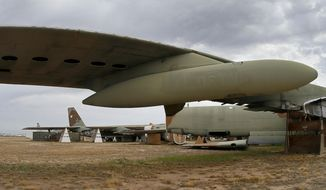 FILE - In this Thursday, May 21, 2015 file photo, the 39th and final B-52G Stratofortress, tail number 58-0224, accountable under the New START Treaty (Strategic Arms Reduction Treaty) with Russia, is shown at the 309th Aerospace Maintenance and Regeneration Group boneyard at Davis-Monthan Air Force Base in Tucson, Ariz. Russia says it has met the nuclear arsenal limits of a key arms control treaty but has some issues with U.S. compliance. Monday, Feb. 5, 2018 was the deadline to verify compliance by both the United States and Russia with the New START treaty signed in 2010. (AP Photo/Matt York, file)