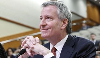 New York City Mayor Bill de Blasio testifies during a joint legislative budget hearing on local government Monday, Feb. 5, 2018, in Albany, N.Y. (AP Photo/Hans Pennink)