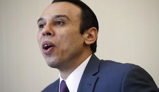 Roger Severino, director of the Office for Civil Rights, is interviewed, Thursday, Feb. 1, 2018, at the office of Health and Human Services in Washington. (AP Photo/Jacquelyn Martin)