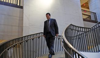 House Intelligence Committee Chairman Rep. Devin Nunes, R-Calif., arrives for the a closed-door meeting of the House Intelligence Committee on Capitol Hill, Monday, Feb. 5, 2018 in Washington. (AP Photo/Alex Brandon)