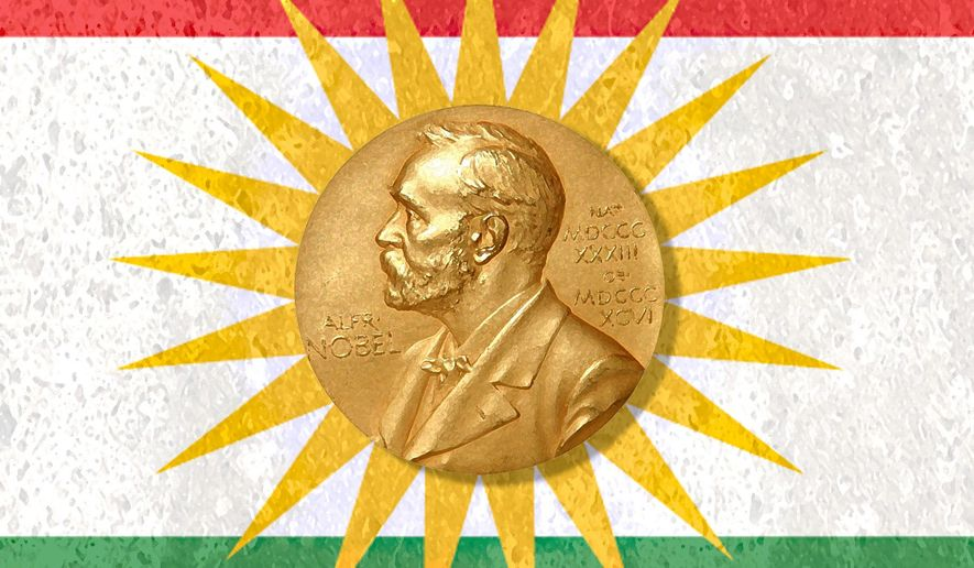 Illustration on Kurdistan's Prime Minister's worthiness for the Nobel Peace Prize by Alexander Hunter/The Washington Times