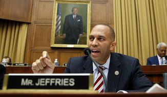 Rep. Hakeem Jeffries, D-N.Y., questions Attorney General Jeff Sessions during a House Judiciary Committee hearing on Capitol Hill, Tuesday, Nov. 14, 2017, in Washington. (AP Photo/Alex Brandon) ** FILE **