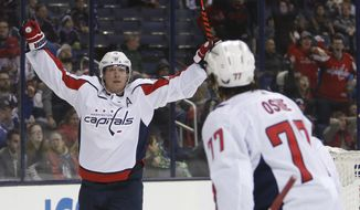 Washington Capitals' Nicklas Backstrom, of Sweden, celebrates his goal against the Columbus Blue Jackets during the third period of an NHL hockey game Tuesday, Feb. 6, 2018, in Columbus, Ohio. The Capitals won 3-2. (AP Photo/Jay LaPrete)