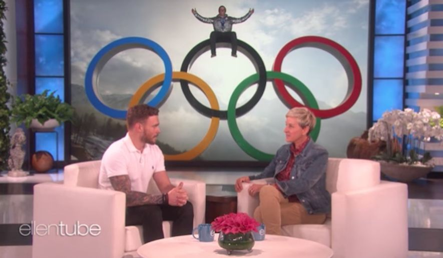 """Olympic freestyle skier Gus Kenworthy told daytime talk show host Ellen DeGeneres on Monday that Vice President Mike Pence is a """"bad fit"""" to lead the 2018 U.S. Olympic delegation. (YouTube/@TheEllenShow)"""