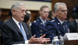 Defense Secretary Jim Mattis, left, speaks, accompanied by Vice Chairman of the Joint Chiefs General Paul J. Selva, during a hearing of the House Armed Services Committee on Capitol Hill, Tuesday, Feb. 6, 2018 in Washington. Mattis says the administration's new nuclear strategy pays the right amount of attention to arms control, even as it focuses on strengthening the nuclear force. (AP Photo/Alex Brandon)