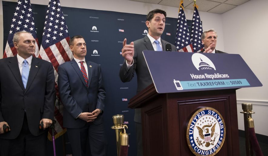From left, House Majority Whip Steve Scalise, R-La., Rep. Jim Banks, R-Ind., Speaker of the House Paul Ryan, R-Wis., speaking, and Majority Leader Kevin McCarthy, R-Calif., right, meet with reporters following a closed-door GOP strategy session at the Capitol in Washington, Tuesday, Feb. 6, 2018. The GOP-controlled House is slated Tuesday to pass a plan to keep the government open for six more weeks while Washington grapples with a potential follow-up budget pact and, perhaps, immigration legislation. (AP Photo/J. Scott Applewhite)