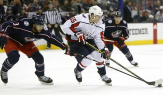 Washington Capitals' Andre Burakovsky, right, of Austria, looks for an open shot as Columbus Blue Jackets' Seth Jones defends during the first period of an NHL hockey game Tuesday, Feb. 6, 2018, in Columbus, Ohio. (AP Photo/Jay LaPrete) ** FILE **
