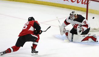 Ottawa Senators' Zack Smith (15) scores on New Jersey Devil goaltender Keith Kinkaid (1) during the second period of an NHL hockey game Tuesday, Feb. 6, 2018, in Ottawa, Ontario. (Fred Chartrand/The Canadian Press via AP)