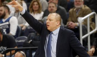 Minnesota Timberwolves head coach Tom Thibodeau directs his team in the second half of an NBA basketball game against the New Orleans Pelicans, Saturday, Feb. 3, 2018, in Minneapolis. (AP Photo/Jim Mone)