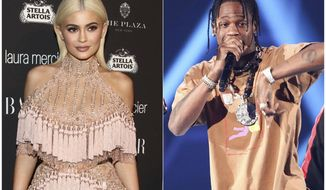 In this combination photo, TV personality Kylie Jenner, left, attends Harper's Bazaar Icons celebration on Sept. 9, 2016, in New York and rapper Travis Scott performs at the 2017 iHeartRadio Music Festival on Sept. 23, 2017, in Las Vegas. In an Instagram post Sunday, Feb. 4, Jenner announced the birth of her baby girl born Thursday. It's the first child for the 20-year-old reality star and the 25-year-old rapper.  Jenner and Travis Scott said Tuesday their baby girl is named Stormi. (Photos by Andy Kropa, left, and John Salangsang/Invision/AP)
