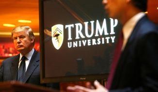 In this Monday May 23, 2005 file photo Donald Trump, left, listens as Michael Sexton introduces him to announce the establishment of Trump University at a press conference in New York. A federal appeals court has upheld an agreement requiring President Donald Trump to pay $25 million to settle lawsuits over his now-defunct Trump University. The 9th U.S. Circuit Court of Appeals on Tuesday, Feb. 5, 2018, rejected an effort by one student, Sherri Simpson, to opt out of the deal and pursue her own lawsuit. The move would have derailed the settlement. (AP Photo/Bebeto Matthews,File)