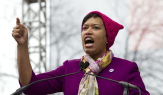 D.C. Mayor Muriel Bowser speaks during the Women's March on Washington, Saturday, Jan. 21, 2017 in Washington. (AP Photo/Jose Luis Magana) **FILE**