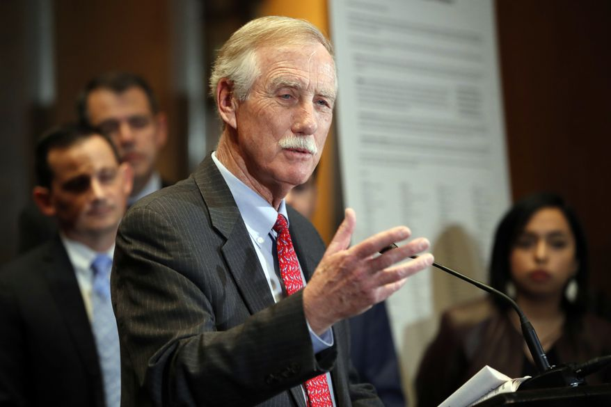 Sen. Angus King, I-Maine, speaks about immigration and the Deferred Action for Childhood Arrivals (DACA) program Wednesday, Feb. 7, 2018, on Capitol Hill in Washington. (AP Photo/Jacquelyn Martin) ** FILE **