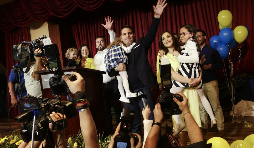 Presidential candidate Fabricio Alvarado with National Restoration Party gives his victory speech after general elections in San Jose, Costa Rica. Alvarado, the surprise winner of Sunday's vote is a 43-year-old journalist and Christian singer whose songs can be found on Spotify. On April 1 he will face off against governing party candidate Carlos Alvarado, no relation. (AP Photo/Arnulfo Franco, File)