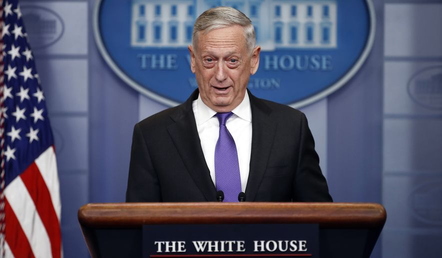 Defense Secretary Jim Mattis speaks during the daily news briefing at the White House, in Washington, Wednesday, Feb. 7, 2018. (AP Photo/Carolyn Kaster)