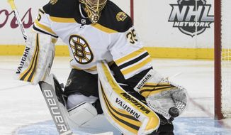 Boston Bruins goaltender Anton Khudobin makes a glove save during the second period of the team's NHL hockey game against the New York Rangers, Wednesday, Feb. 7, 2018, at Madison Square Garden in New York. (AP Photo/Mary Altaffer)