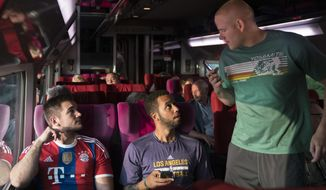 """This image released by Warner Bros. Pictures shows Spencer Stone, from left, Anthony Sadler and Alex Skarlatos in a scene from """"The 15:17"""" To Paris."""" (Warner Bros. Pictures via AP)"""