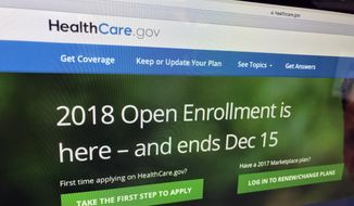 In this Dec. 15, 2017, file photo, the HealthCare.gov website is photographed in Washington. (AP Photo/Jon Elswick) ** FILE **