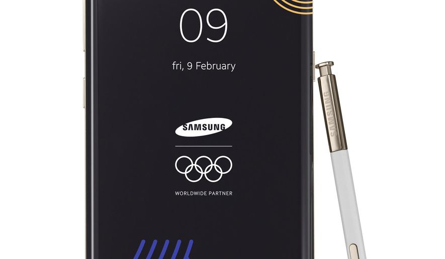 This image provided by Samsung shows a Galaxy Note 8 Olympic Games phone. Samsung Electronics donated the limited edition phones for athletes and officials at the International Olympic Committee so that they can document every moment and share their memories with the world. The Winter Olympic Games organizer is in limbo whether handing out the device to North Koreans would violate global sanctions. (Samsung via AP)
