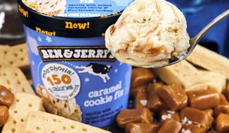 This photo provided by Ben & Jerry's shows the company's low-calorie caramel cookie fix ice cream. Ben & Jerry's is the latest big brand to launch a slimmed-down version of its frozen treats. (Courtesy of Ben & Jerry's via AP)