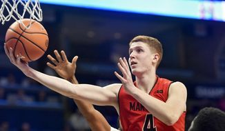 Maryland's Kevin Huerter goes in for a basket against Penn State during an NCAA college basketball game Wednesday, Feb. 7, 2018, in State College, Pa. (Abby Drey/Centre Daily Times via AP) **FILE**