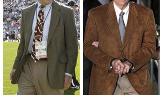 FILE - In this file photo combo, at left, in an Oct. 8, 2011, file photo, Penn State president Graham Spanier walks on the field before an NCAA college football game in State College, Pa. At right, in a June 22, 2012, file photo, former Penn State University assistant football coach Jerry Sandusky leaves the Centre County Courthouse in custody after being found guilty of multiple charges of child sexual abuse in Bellefonte, Pa. A three-judge Pennsylvania Superior Court panel heard arguments Wednesday, Feb. 7, 2018, in Spanier's appeal of his misdemeanor guilty verdict for endangering the welfare of children, over how he responded to a 2001 report Sandusky sexually abused a boy in a team shower. The former Penn State president argues a two-year statute of limitations applies and had expired by the time he was charged in 2012. Spanier has been sentenced to two months in jail, but is free on bail pending appeal. (AP Photo/Gene J. Puskar, File)