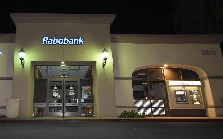 A Rabobank bank location is seen, Tuesday, Feb. 6, 2018, in Thousand Oaks, Calif. Dutch lender Rabobank's California subsidiary is scheduled to enter a plea a long-running investigation that led to allegations the bank was used to launder millions of dollars in Mexican drug money. (AP Photo/Mark J. Terrill)